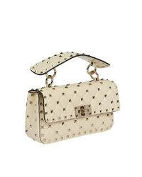 Valentino - White Valentino Rockstud Spike Small Bag In Real Leather With Micro Studs And Sliding Shoulder Strap - Lyst
