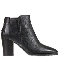 Tod's | Black Heeled Booties Shoes Woman | Lyst