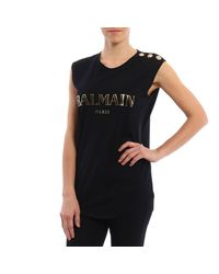Balmain - Black Top Women - Lyst