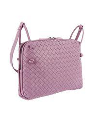 Bottega Veneta Purple Crossbody Bag Nodini Small In Genuine Leather With Woven Pattern