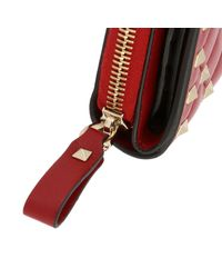 Valentino Red Valentino Rockstud Spike Small Wallet In Genuine Quilted Nappa Leather With Zip Around