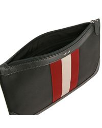 Bally Black Cayard Clutch Bag In Canvas And Leather With Striped Band for men