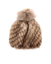 Max Mara Natural Delia Hat In Knitted Mink With Fur Pompom