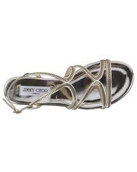 Jimmy Choo - Metallic Flat Sandals Shoes Women - Lyst