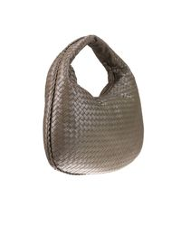 Bottega Veneta Gray Hobo Bag Veneta Large In Leather With Woven Pattern