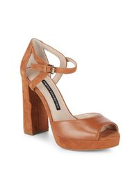 French Connection Brown Ankle-strap Leather Block Heel Sandals