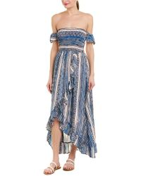 Surf Gypsy Blue Off - The - Shoulder Smocked Bodice Ruffled Maxi Dress Swim Cover - Up