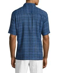 Tocco Toscano - Blue Short Sleeve Silk Checkered Sportshirt for Men - Lyst