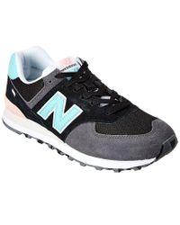 New Balance Black 574 Suede & Mesh Sneaker for men