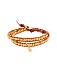 Chan Luu Metallic 18k Over Silver Crystal Leather Wrap Bracelet