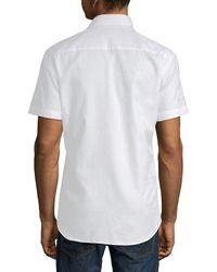 Bertigo White Paisley Jacquard Cotton Button-down Shirt for men