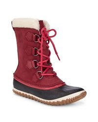 Sorel Red Caribou Faux Fur-lined Cold Weather Boots