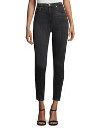 7 For All Mankind Black High-waist Skinny Jeans