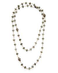 SHAY - Metallic Labradorite & Diamond Station Wire Necklace - Lyst