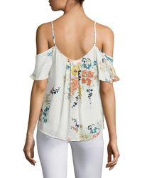 Joie Multicolor Adorlee Floral-printed Silk Cold Shoulder Blouse
