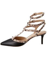Valentino Black Rockstud Caged 65 Patent Ankle Strap Pump