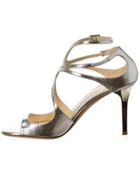 Jimmy Choo Metallic Ivette 85 Glitter Leather Sandal