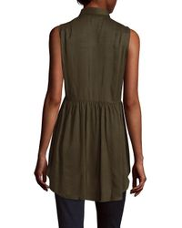 French Connection - Green Gathered Modal Blouse - Lyst
