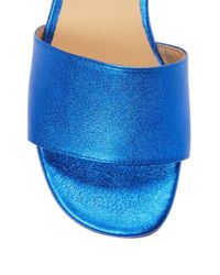 Saks Fifth Avenue Blue Block Heel Suede Sandal