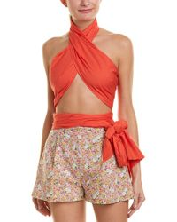 Mds Stripes Orange Scarf Top