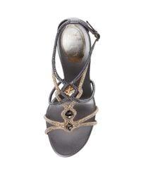 Rene Caovilla Gray Beaded Buckle T-strap Sandal