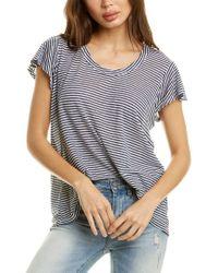 Wilt Blue Pointed Back Linen-blend T-shirt