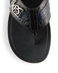 John Galliano Blue Leather Thong Sandals for men