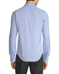 Valentino Blue Spread Collar Cotton Button-down Shirt for men