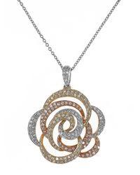Effy | Metallic Diamond, 14K White, Yellow And Rose Gold Flower Pendant Necklace, 0.68 Tcw | Lyst
