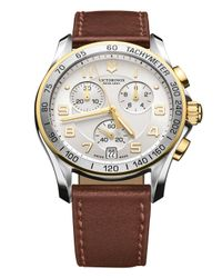 Victorinox Brown Chrono Classic Two-toned Chronograph Watch, 41mm for men