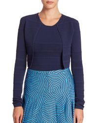 Akris Punto - Blue Textured Knit Bolero - Lyst