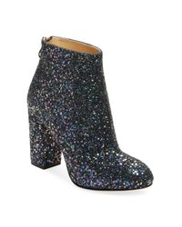 Charlotte Olympia Blue Alba Glittered Canvas Ankle Boots