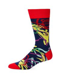 Bugatchi - Blue Multicolored Geometric Socks for Men - Lyst