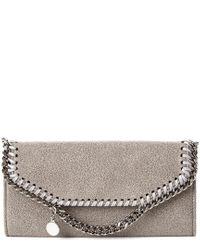 Stella McCartney Gray Falabella Shaggy Deer Continental Wallet