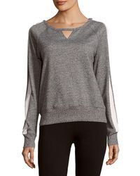 X By Gottex Gray Boatneck Cotton-blend Pullover