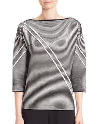 Lafayette 148 New York Multicolor Two-tone Crepe Jacquard Sweater