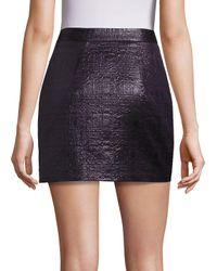 MILLY Black Mod Metallic Jacquard Skirt