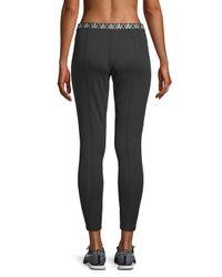 Armani Exchange Black Pintuck Logo Leggings