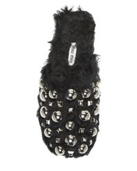 Miu Miu Black Studded Faux Fur Slides