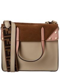 Fendi Brown Flip Leather & Suede Shoulder Bag