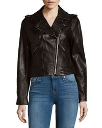 MICHAEL Michael Kors | Black Missy Leather Motor Jacket | Lyst