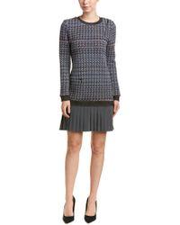 Nicole Miller Gray Wispy Houndstooth Pleated Tweed Dress