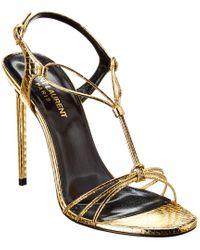 Saint Laurent Robin 115 Metallic Leather Sandal