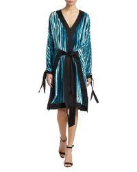 Diane von Furstenberg Black Long-sleeve Kimono Dress