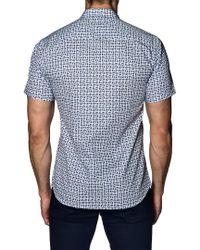 Jared Lang Blue Trim Fit Print Sport Shirt for men