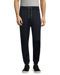 Armani Exchange - Blue Drawstring Elasticized Trousers for Men - Lyst