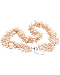 Splendid Metallic Silver 5-6mm Pearl Necklace