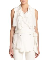 Haute Hippie - Natural Sleeveless Silk Trench Blouse - Lyst