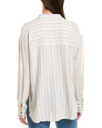 Splendid White Striped Button Down Shirt