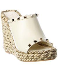 Valentino Garavani White Rockstud Leather Wedge Sandal